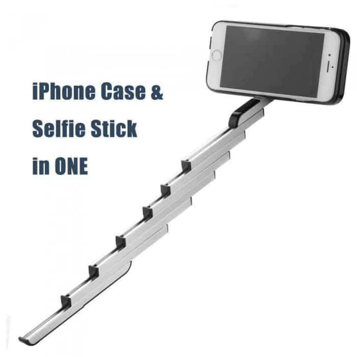 iPhone case and selfie stick in one